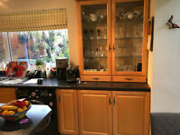 Maple solid wood kitchen with black worktop including extractor fan, Neff hob, sink & tap