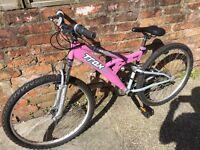Trax TFS.1 pink mountain bike full suspension