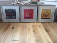 3 x wall pictures and frames canvas