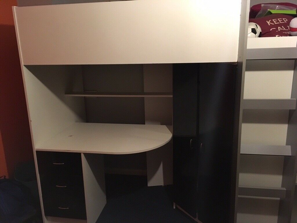 High bed with wardrobe , desk, drawers and shelves