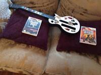Guitar and guitar hero games and GTA pro series racing plus steering wheel