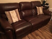 3 Seater Brown Leather Couch and Matching Chair