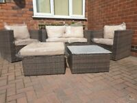 5 Seater Brown Rattan Garden furniture set, including stool and coffee table