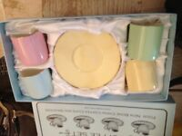 Brand new in Box Cute Pastel Coloured Kensington bone china coffee cups and saucers