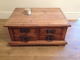 Bagio furnishings solid wood pine coffee table & chest of drawers
