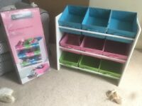 Toy storage units with boxes