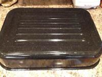 Large enamel roasting tin
