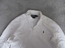 Ralph Lauren White Long Sleeved Polo Shirt Size S