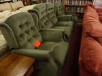 Soft Green Velvet like material suite ( one 2 seater sofa and 2 matching Recliner Armchairs)