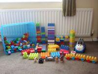 Massive job lot of Mega Bloks loads there including cars, pull along , animals ect