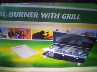 2 burner gas hob & grill with utility stand, for camping