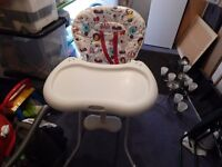 high chair in quality condition hardly used