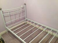 White metal frame single bed and memory foam mattress