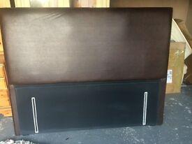 Brown leather floor-standing headboard (King size)