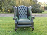 Chesterfield Queen Ann Wing Back Leather Chair