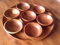 Large wooden hors d'oeuvres serving tray with 7 individual bowls