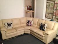 CREAM LEATHER 7 SEATER RECLINER CORNER SOFA IN EXCELLENT CONDITION FREE LOCAL DELIVERY