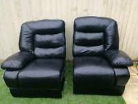 Black Italian leather 2 seater recliner