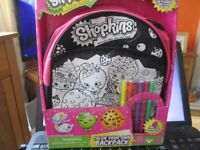 shopkins colour in back pack new