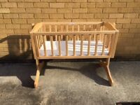 Wooden Bethany Rocking Crib With Mattress