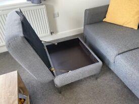 Immaculate grey sofa & foot stool