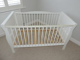 Kiddicare Sleigh Cot Bed White mint condition, £100