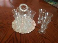 Sherry glasses with tray