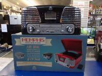 MEMPHIS RETRO MUSIC PLAYER. VINYL TURNTABLE CD RADIO MP3