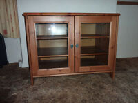 Ikea Leksvik Solid Pine TV Cabinet With Glass Doors