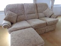Vale Bridgecraft sofa, 2 armchairs, footstool & 2 matching cushions plus armchair covers