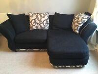 Black Fabric Sofa, Cuddle/Swivel Chair & Foot Stool