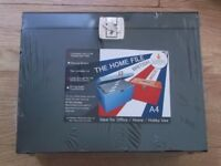 NEW IN ORIGINAL PACKAGING A4 METAL FILE FILING BOX WITH A LOCKABLE LID AND KEYS