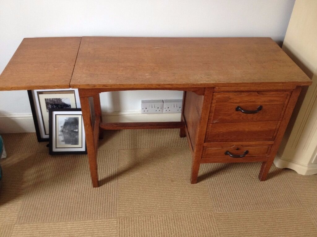 Old Wooden Desk Vintage Style Look Possibly Oak With Drawers And Small Drop Leaf