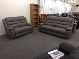 Ex Display SCS Neso Grey Leather 3 & 2 Seater Sofas **CAN DELIVER**