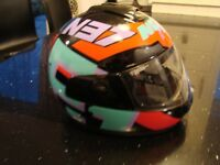 NOLAN N37 MOTOR BIKE HELMET SIZE MEDIUM VGC SEE PICS + LEATHER GLOVES