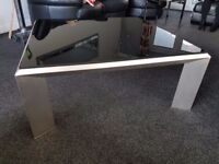 Large brushed steel and black glass coffee table