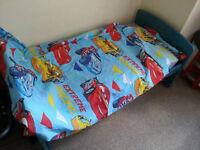 Solid Toddler bed with matress, duvet with duvet cover and pillow case