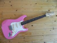Pink Rockburn Strat' Style Electric Guitar Professionally Set-Up VGC with Bag, Strap & Picks