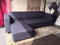 Stanza Left Hand Fabric Corner Sofa In Indigo Blue Colour Linen Effect Fabric