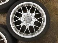 "Genuine Bbs rs2 split 18"" with good tyres 5x100"