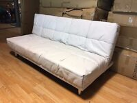New White 3 Seater Padded Leather Sofa Bed (Free Local Delivery)