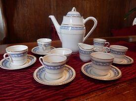 Vintage Coffee Set Portland Pottery Blue and white pattern, gold trim, circa 1946-1952