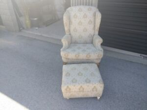 Wing back chair and hasek