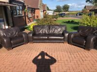 Dark Brown Leather Sofa and Chairs