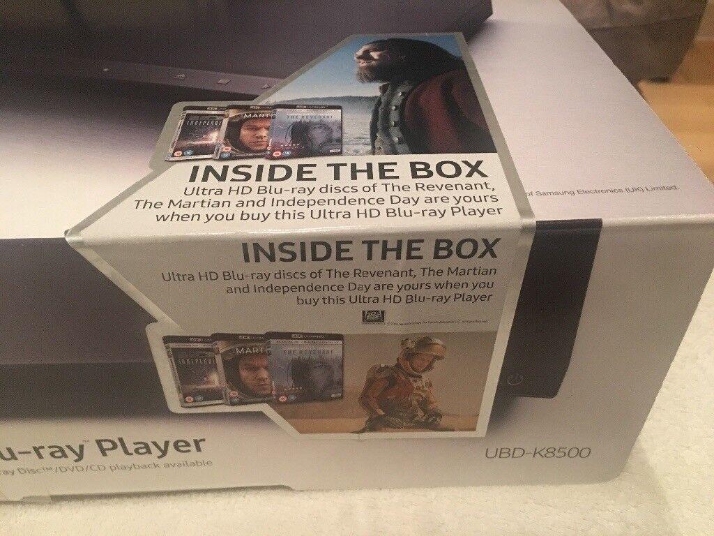 Brand New (SEALED) Samsung Ultra HD Blu Ray Player (UBD-K8500) + 3 unopened Blu Ray discs