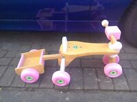 Wooden childs ride on trike with trailer
