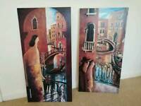 DIDIER LOURENCO Picture on Canvas Wall Art, BALCON EN VENECIA & PUENTE EN VENECIA