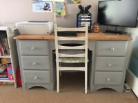 Shabby Chic Grey Desk Table 6 Drawers