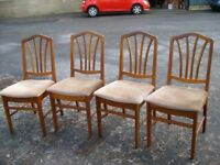 four chairs dining set/4 dining chairs in teak/ four upholstered chairs/ rock solid