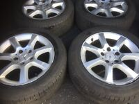 05 MERCEDES C CLASS ALLOY WHEEL FULL SET WITH TYRES 16 INC WERY GOOD TYRES